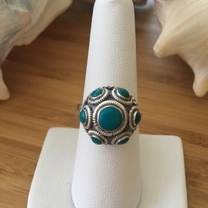VTG Sterling Silver Mexico Turquoise Dome Ring